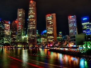 Asia, town, skyscrapers, Night, Singapur, View