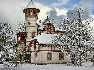 snow, viewes, Church, trees