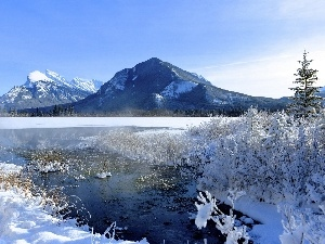 snow, winter, Mountains, River