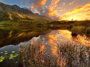 South Africa, lake, west, sun