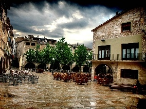 Spain, Girona, Houses, Restaurants