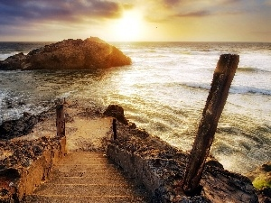 Islet, Stairs, sea