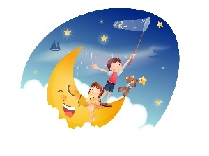 moon, star, Kids