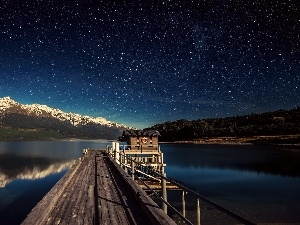 star, Night, lake, Platform, Mountains