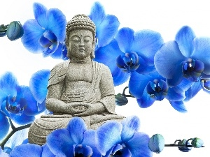 Statue of Buddha, orchids, blue, Flowers