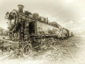 locomotive, steam, Old