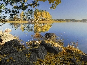 lake, Stones, autumn