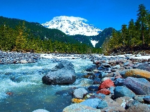 Stones, River, Mountains, woods