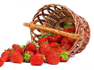 buxom, strawberries, basket