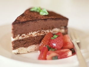chocolate, strawberries, Cake