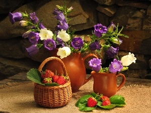 strawberries, Flowers, clay, Jugs