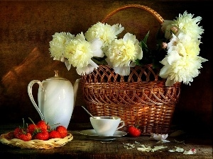 strawberries, Peonies, wicker, basket