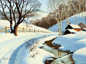 picture, stream, winter, Arthur Saron Sarnoff, Way