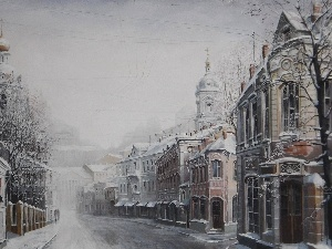 Street, Town, picture, winter
