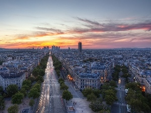 Streets, town, Paris, Great Sunsets, panorama