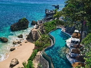 summer, Pool, sea, Bali, Beaches