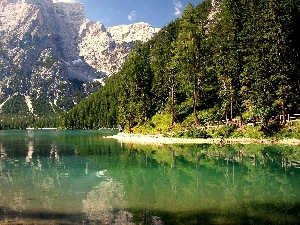 summer, Mountains, lake, forest