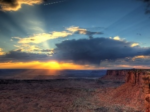 sun, The Setting, Desert, rays