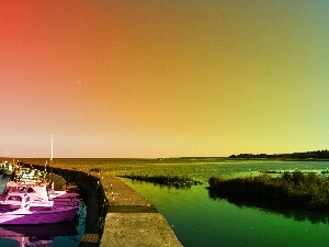 sun, west, Harbour, lake, motorboat
