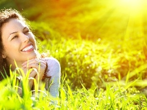 sun, rays, Women, relaxation, Meadow