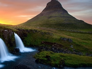sun, west, rocks, iceland, waterfall