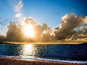 sun, clouds, sea, Coast
