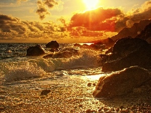 sun, rocks, sea, Waves