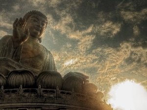 west, sun, Budda