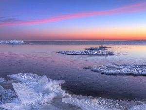 sun, ice, west, sea, winter, Kry