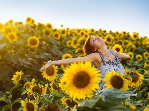sunflowers, Field, happy, girl