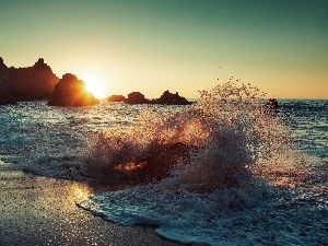 Sunrise, rocks, sea, Waves