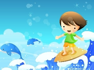 Surfing, Waves, Kid, sea