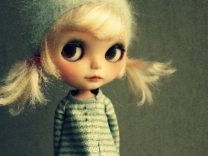 Sweater, ponies, Blonde, doll, Eyes, toy
