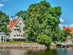 Sweden, River, house, arbour
