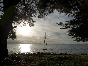 Swing, trees, sea, coast