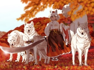 sword, wolves, Anime, girl