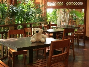 Table, Stool, teddy bear