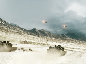 tanks, Planes, Mountains, Desert