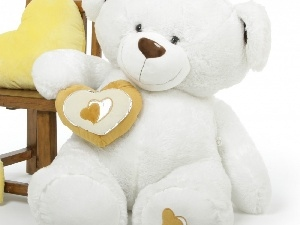 teddy bear, hearts, Plush