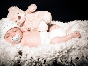 teddy bear, Plush, Sleeping, Baby