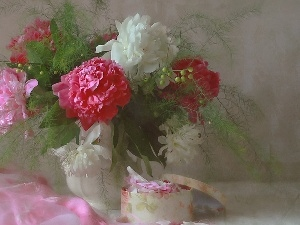 textile, bowl, color, Peonies