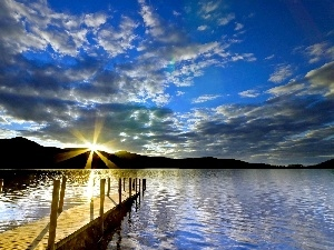 The Setting, rays, lake, sun, Platform