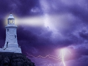thunderbolt, Storm, Lighthouse, maritime