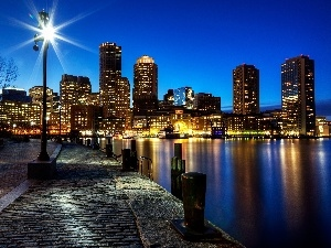 Boston, Town, illuminated, The United States, skyscrapers