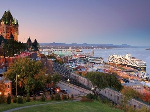 town, vessels, panorama, Quebec, Canada, port