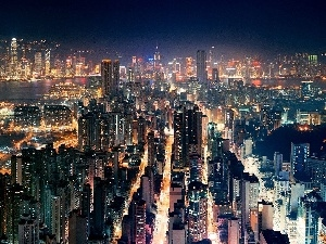Town, Night, Hong Kong