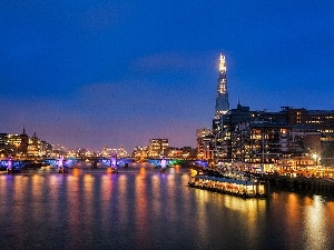 Town, bridge, River, London, thames