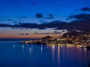 Town, sea, Funchal, Night, Gulf