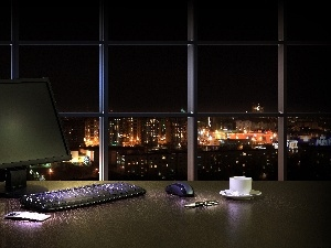 Town, laptop, interior, Night, desk