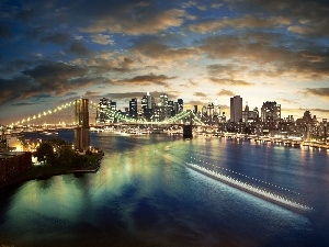 New York, Town, bridge, River